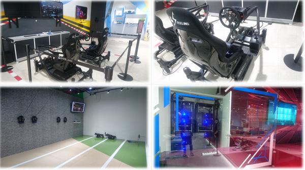 定番のレース用モーションベースや、FreeRoamスペースも充実です!